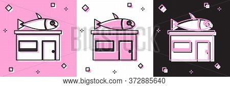 Set Seafood Store Icon Isolated On Pink And White, Black Background. Facade Of Seafood Market. Vecto