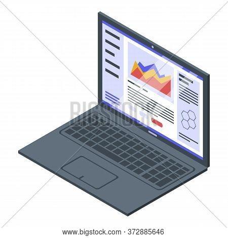 Nanotechnology Laptop Icon. Isometric Of Nanotechnology Laptop Vector Icon For Web Design Isolated O