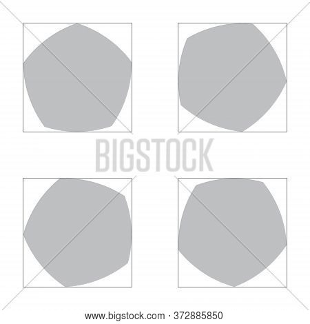 Grey Reuleaux Pentagons On White Background. Pentagon With Constant Width. Vector Illustration. Reul