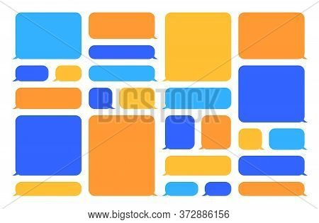 Colorful Speech Bubbles Set. Blue And Orange Blank Chat Bubbles With Space For Messages, Templates F