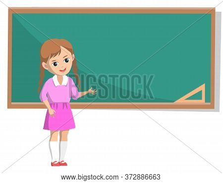 Little Girl With Braids Wearing Pink Skirt And Shirt Standing Near Green Chalkboard Isolated On Whit