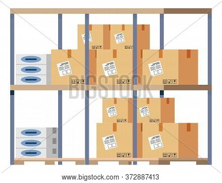 Business With China Cardboard Parcels Isolated On White. Containers On Metal Shelf Element Of Import