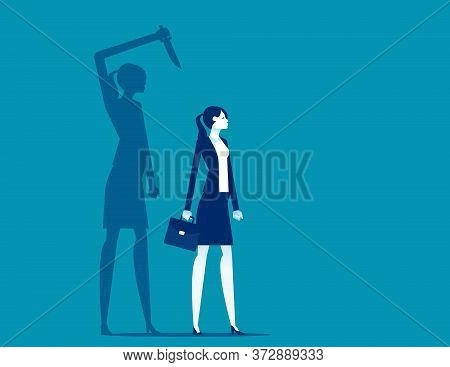 Businesswoman Being Stabbed In The Back. Silhouette Vector Illustration Design
