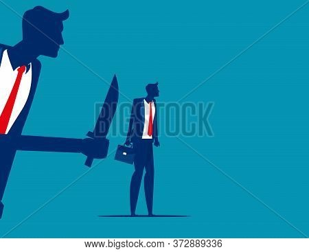 Businessman Being Stabbed In The Back. Silhouette Vector Illustration Design.