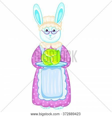 Hare Granny In A Cap And Apron Holds A Tray With A Head Of Cabbage In His Hands, Isolated Object On