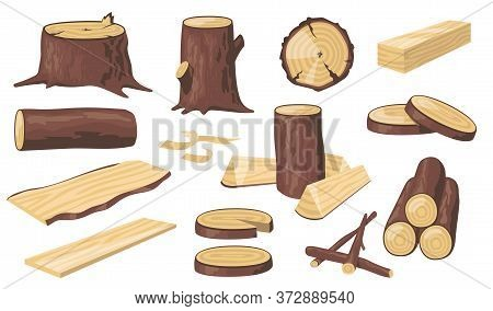 Various Wood Logs And Trunks Flat Icon Set. Cartoon Wooden Materials, Lumber, Planks And Timber Isol