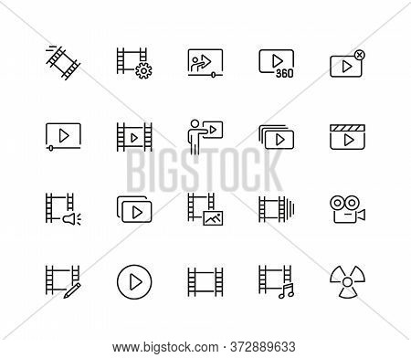 Movie Icons. Set Of Twenty Line Icons. Multimedia, Filmstrip, Camera. Video Content Concept. Illustr