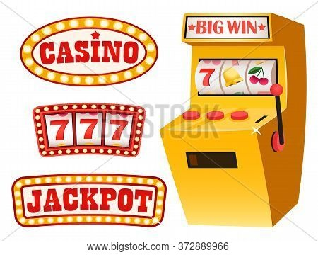 Gambling Set Vector, Casino And Jackpot Lucky Numbers Vector. Flat Style Signboards With Inscription