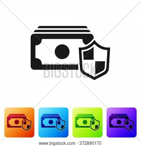 Black Money With Shield Icon Isolated On White Background. Insurance Concept. Security, Safety, Prot