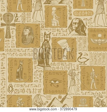 Seamless Pattern On The Theme Of Ancient Egypt With Sketches And Scribbles. Hieroglyphs Are Randomly