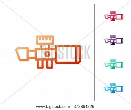 Red Line Sniper Optical Sight Icon Isolated On White Background. Sniper Scope Crosshairs. Set Color