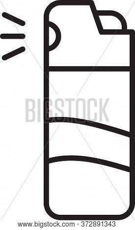 Black Line Pepper Spray Icon Isolated On White Background. Oc Gas. Capsicum Self Defense Aerosol. Ve