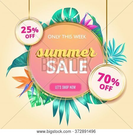 Summer Sale Banner With Tropical Leaves And Text. Colorful Banner Template. Hot Season Sale, End Of