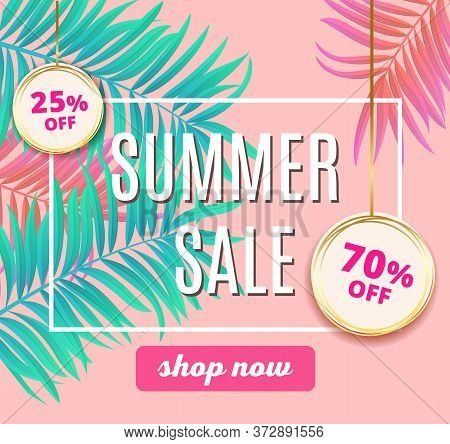 Sale Summer Promo Template Banner. Elegant Pink, Cyan Colors. Design Template With Modern Bright Neo
