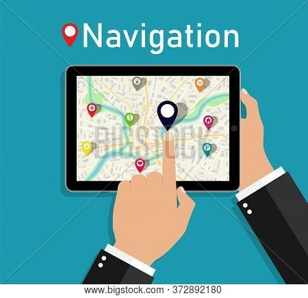 Map In Tablet. Hand Hold Phone With Gps Navigation For City. Tracking Location In Street. Road With