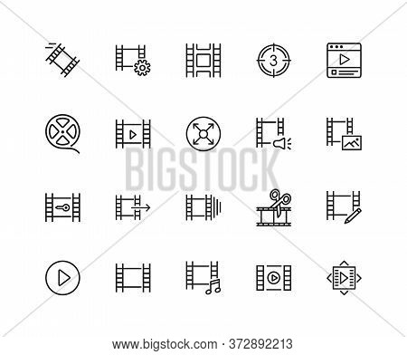 Filmstrip Icons. Set Of Twenty Line Icons. Film Reel, Editing, Multimedia. Filming Concept. Illustra