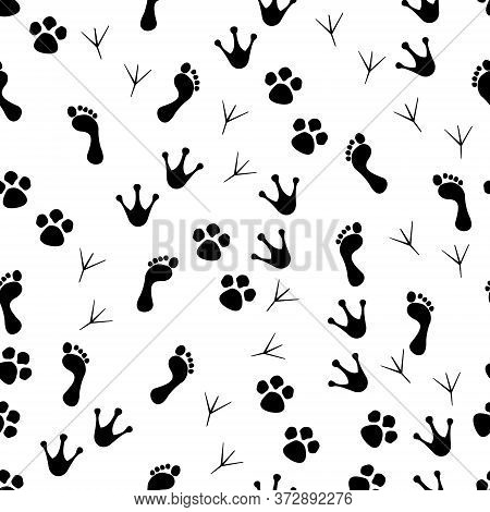 Paw Seamless Pattern. Animal And Human Paws. Footprint Of Cat, Dog And Bird For Print. Cartoon Or Ve