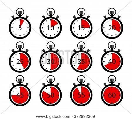 Stopwatch Icons. Clock Timer With Stop. Set Of Chronometer. Countdown In Sport. Symbol Of Start, End