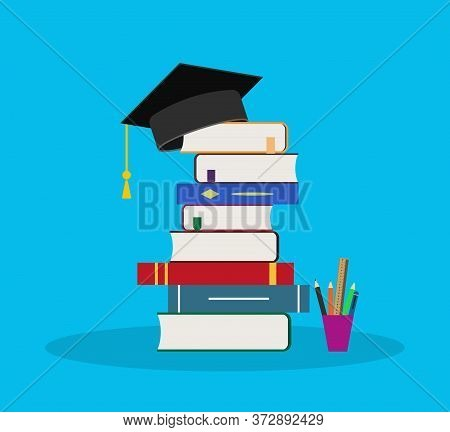 Education In School With Book. Hat Icon For Student, University. Pile Books In College For Knowledge