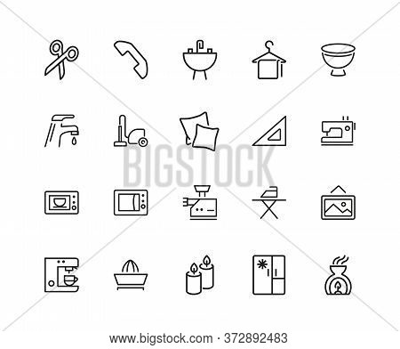 Household Icons. Set Of Twenty Line Icons. Ironing, Faucet, Oven. Housekeeping Concept. Illustration
