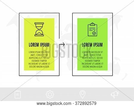 Timeline Creative Design Linear Infographics Template. Business Vector Illustration With 2 Options,
