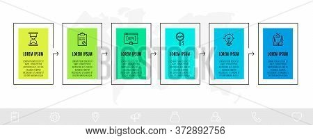 Timeline Creative Design Linear Infographics Template. Business Vector Illustration With 6 Options,
