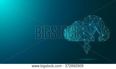Data Storage. Vector Illustration Of Abstract Cloud Sign In Polygonal Wireframe Style With Two Arrow