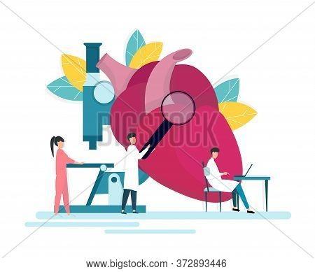 Cardiology Medical Support. Team Of Tiny Doctors And Nurse Examining Big Human Heart, Creative Vecto