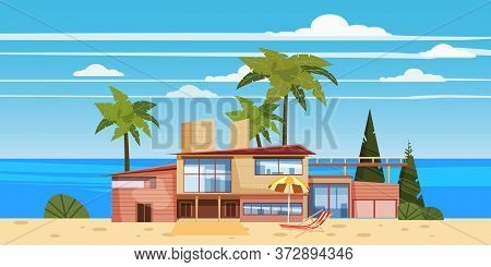 Sea Shore Beach Luxury Cottage Villa House For Rest With Palms And Plants, Sea, Ocean. Modern Archit