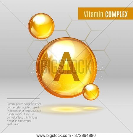 Vitamin A Gold Shining Pill Capsule Icon . Vitamin Complex With Chemical Formula , Retinol Retinol,