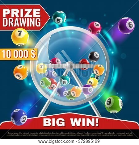 Lottery Machine. Wheel Drum With Lotto Balls Inside, Lucky Instant Win, Internet Leisure Or Bingo Ga