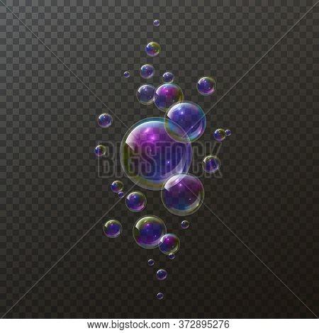 Realistic Soap Bubbles. Shampoo Foam Rainbow Bubble. Iridescent Colorful Cloud Of Big And Little Soa