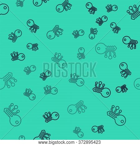 Black Line Cryptocurrency Key Icon Isolated Seamless Pattern On Green Background. Concept Of Cyber S