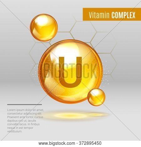 Vitamin U Gold Shining Pill Capcule Icon . Vitamin Complex With Chemical Formula, S-methylmethionine