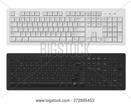 Keyboard. White And Black Keyboard For Personal Computer, Modern Pc Keypad For Write Words English A