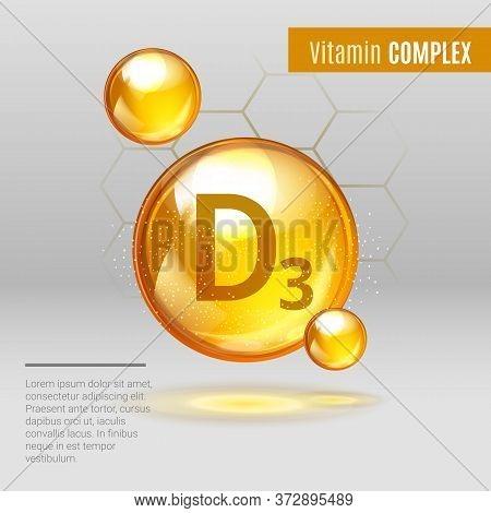 Vitamin D3 Shining Pill Capsule Icon . Holecalciferol Vitamin With Chemical Formula. Shining Golden
