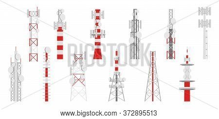 Radio Masts. Telecom Transmitter Towers, Television Or Internet And Broadcasting Antenna Telecommuni