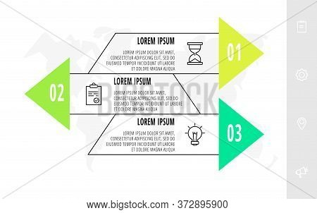 Infographics With 3 Elements With Arrows. Vector Concept Of Three Business Options To Choose From. M
