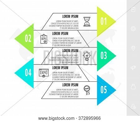 Infographics With 5 Elements With Arrows. Vector Concept Of Five Business Options To Choose From. Mo