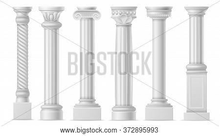 Realistic Column. Classic Antique White Columns, Roman Historical Stone Pillars, Marble Pillar Ancie