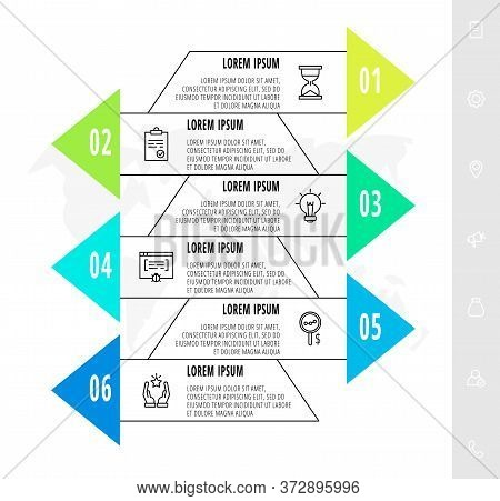Infographics With 6 Elements With Arrows. Vector Concept Of Six Business Options To Choose From. Mod