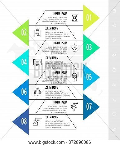 Infographics With 8 Elements With Arrows. Vector Concept Of Eight Business Options To Choose From. M