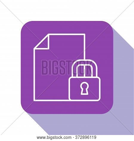 White Line Document And Lock Icon Isolated On White Background. File Format And Padlock. Security, S