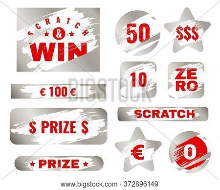 Scratch Card. Scratches With Brush Effect Suitable For Instant Prize Game. Lottery Silver Win Ticket
