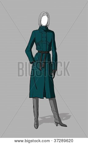 Girl in long coat and long boots