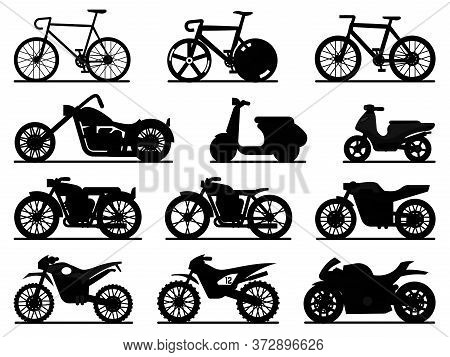 Motorbike Black Silhouette Set. Motorcycles And Scooters, Bikes And Choppers. Speed Race And Deliver