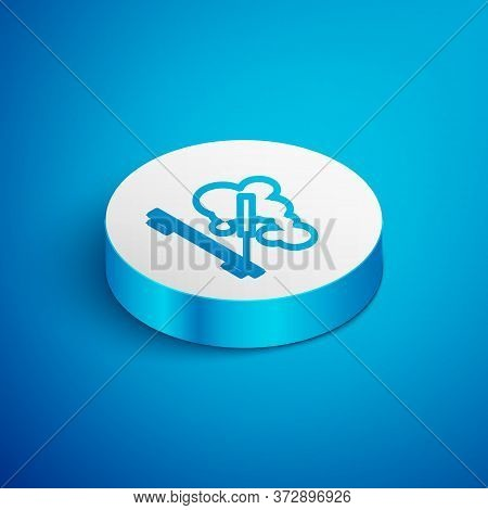 Isometric Line Scented Spa Stick On A Wooden Stand Icon Isolated On Blue Background. Incense Stick.