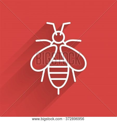 White Line Bee Icon Isolated With Long Shadow. Sweet Natural Food. Honeybee Or Apis With Wings Symbo