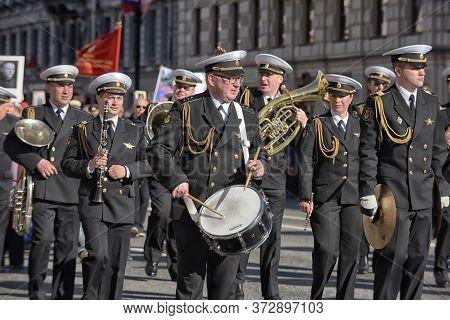 Military Orchestra On Nevsky Prospekt On Victory Day
