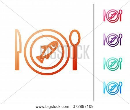 Red Line Served Fish On A Plate Icon Isolated On White Background. Set Color Icons. Vector.